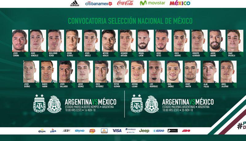 Sale la lista de convocados del TRI para enfrentar a Argentina